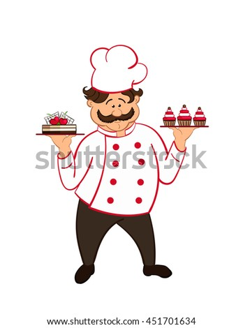 happy fat confectioner with  chocolate cakes with cherry.