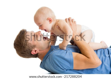 happy father and baby playing together - stock photo