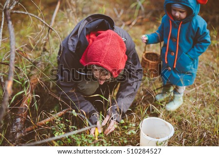 Happy father and cute little baby picking mushrooms, walking in forest. Happy family concept