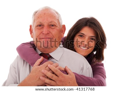 happy father and daughter giving a tenderness hug