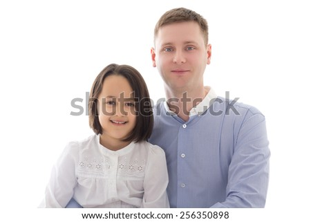 happy father and daughter isolated on white background - stock photo