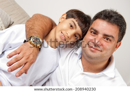 Happy Father and his son . - stock photo