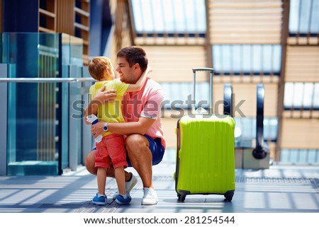 happy father and son meeting after a long parting, in travel - stock photo
