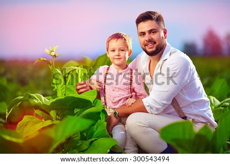 happy father and son on their tobacco plantation, at sunset