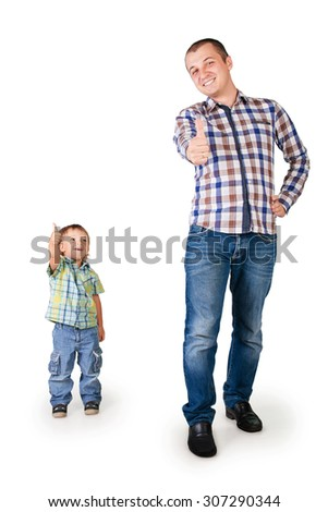 Happy father and son with thumbs up isolated on white - stock photo