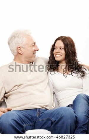 Happy father and the daughter on a white background
