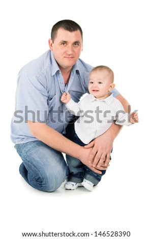 happy father hugs little son isolated on white background - stock photo