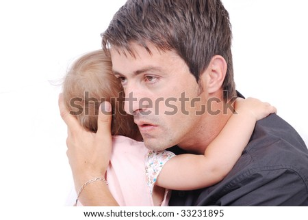 Happy father is hugging his daughter isolated - stock photo