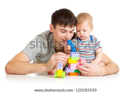 happy father playing with baby boy - stock photo