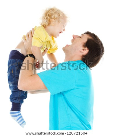 Happy father playing with  child raising him up over white - stock photo