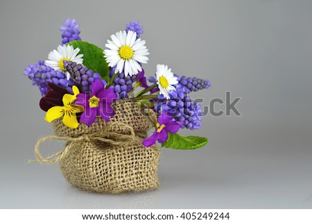 Happy Father's Day card: Colorful spring flowers - stock photo