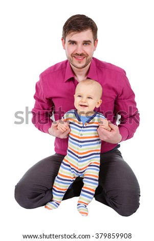 Happy father with a baby isolated on a white background - stock photo