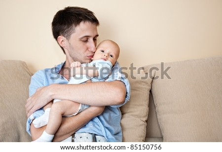 Happy father with his child.