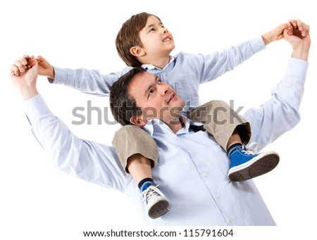 Happy father with his son - isolated over a white background - stock photo