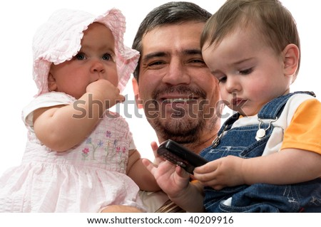 happy father with his two children on the white background, isolated