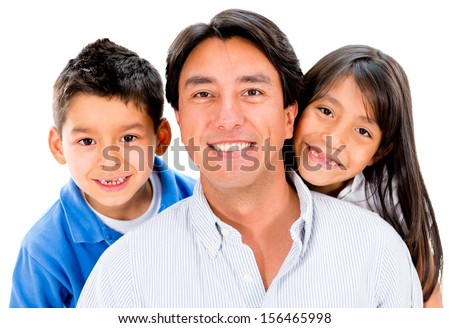 Happy father with his two kids smiling - isolated over white background