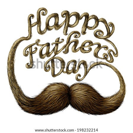 Happy fathers day concept as a thank you to the best dad message of love for being a great parent as a human mustache  with long whiskers shaped as written text isolated on a white background. - stock photo