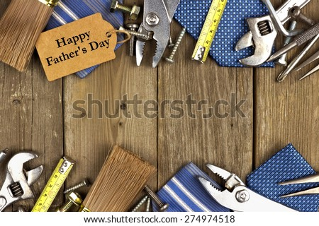 Happy Fathers Day gift tag with double border of tools and ties on a rustic wood background - stock photo