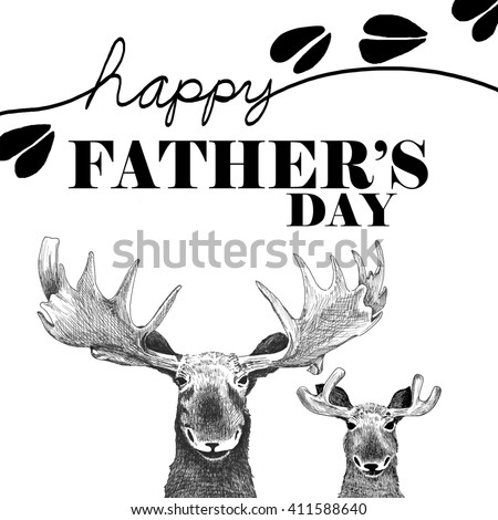 Happy fathers day image. Cute, fun father and son moose in detail cartoon art style. Humorous fathers day card or website header announcement. Funny moose and tracks illustration is hand drawn. - stock photo