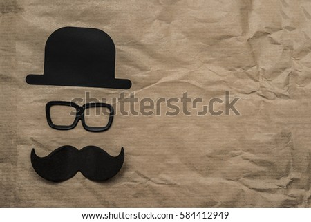 Happy fathers day sticker hat glasses black mustache on paper background hipsters