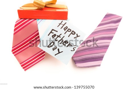 Happy Fathers Day tag with neckties - stock photo