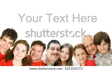 Happy fathers with their children.  Father's Day concept, border, isolated with room for text.