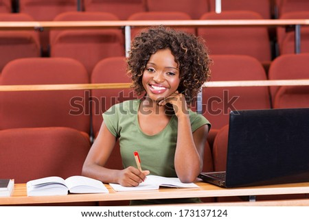 happy female afro american college student - stock photo