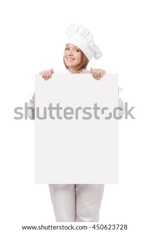 happy female chef, cook or baker holding blank board with empty copy space for you text isolated on white background. advertisement banner. your text here - stock photo