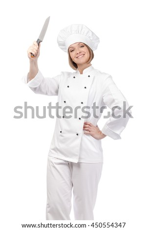 happy female chef, cook or baker with knife isolated on white background