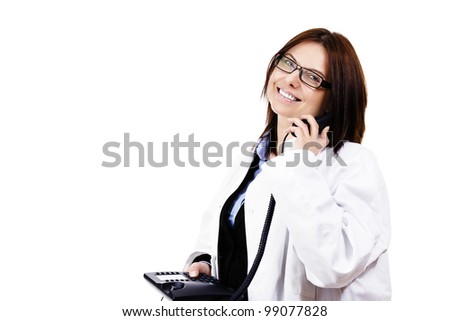 happy female doctor hanging on the phone on white background - stock photo