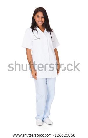 Happy Female Doctor. Isolated On White Background - stock photo