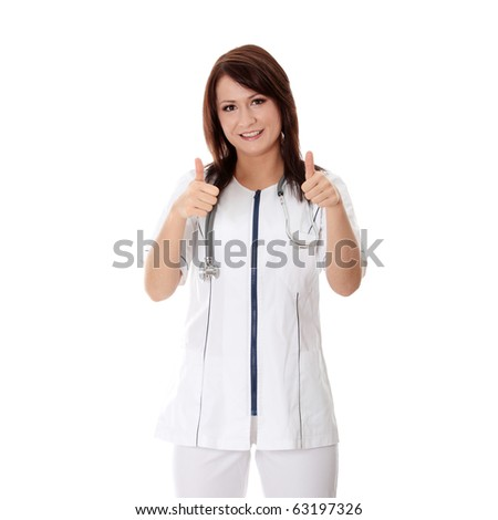 Happy female doctor with thumbs up, isolated on white - stock photo