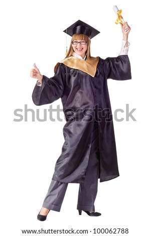 Happy female graduate with arms up. Isolated over white - stock photo