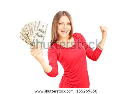 Happy female holding US dollars and gesturing happiness isolated on white background - stock photo