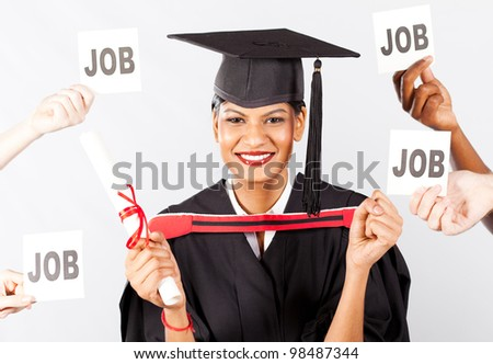 happy female indian graduate with job offers - stock photo