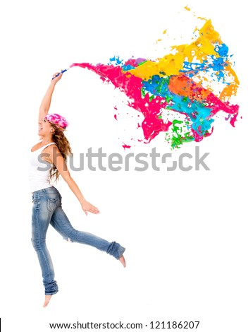 Happy female painter with a colorful paint splash - isolated