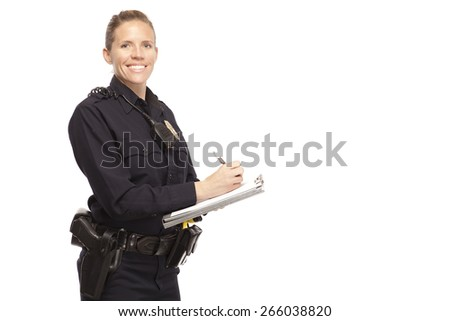 Happy female police office writing report against white background - stock photo
