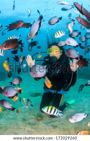 Happy female SCUBA diver underwater - stock photo