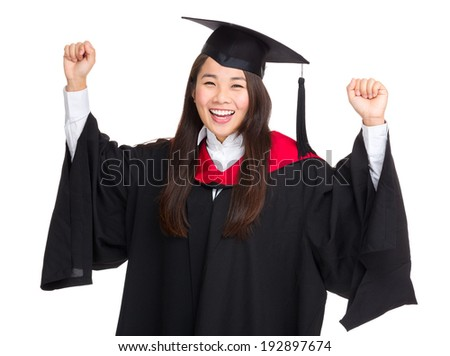 Happy female student celebrating graduation