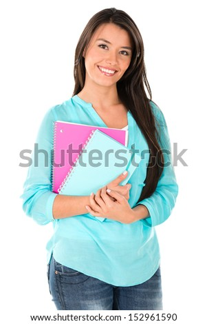 Happy female student holding notebook - isolated over white background