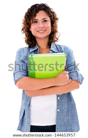 Happy female student holding notebooks - isolated over white background