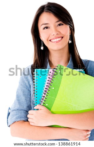 Happy female student - isolated over a white background