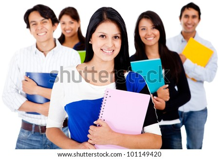 Happy female student with a group - isolated over a white background - stock photo