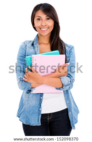 Happy female student with notebooks - isolated over a white background