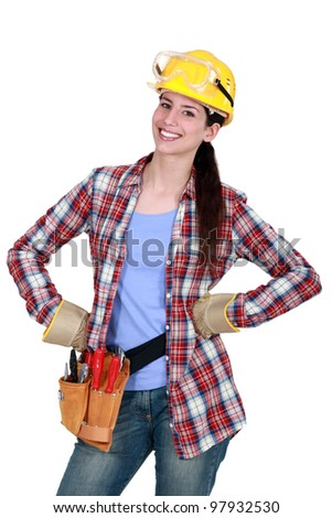 Happy female woodworker - stock photo