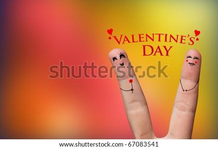 Happy finger hug on Valentines Day theme - stock photo