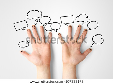 happy finger smileys with speech bubbles