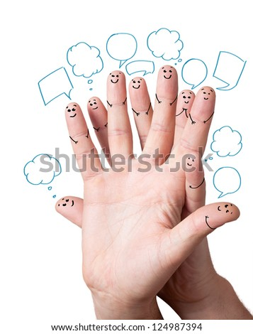 Happy finger smileys with speech bubbles. - stock photo