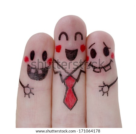 Happy fingers painted concept - stock photo