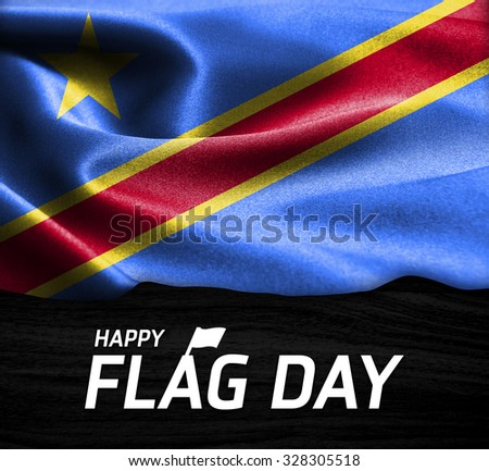 Happy Flag Day Typography Democratic Republic of the Congo flag on wood Texture background - stock photo